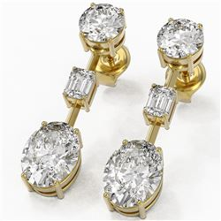 5 ctw Oval Cut Diamond Designer Earrings 18K Yellow Gold
