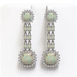 18.06 ctw Opal & Diamond Earrings 14K White Gold