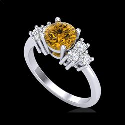 1.5 ctw Intense Fancy Yellow Diamond Ring 18K White Gold