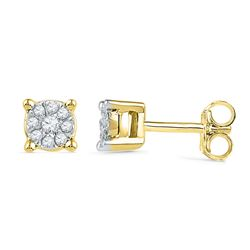 10kt Yellow Gold Round Diamond Cluster Earrings 1/10 Cttw