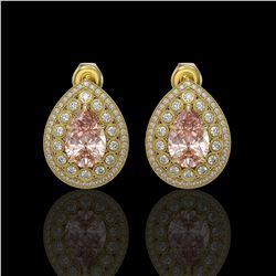 7.94 ctw Morganite & Diamond Victorian Earrings 14K Yellow Gold