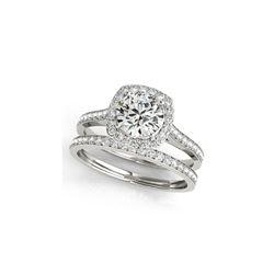 1.12 ctw Certified VS/SI Diamond 2pc Wedding Set Halo 14K White Gold