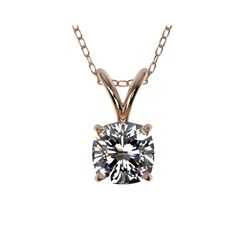 .50 ctw Certified VS/SI Quality Cushion Diamond Necklace 10K Rose Gold