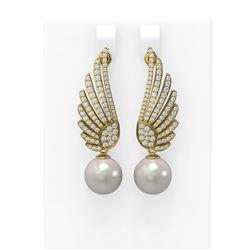 2.16 ctw Diamond and Pearl Earrings 18K Yellow Gold