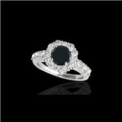 2.9 ctw Certified VS Black Diamond Solitaire Halo Ring 10K White Gold