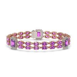 26.34 ctw Amethyst & Diamond Bracelet 14K Rose Gold