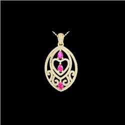 3.50 ctw Pink Sapphire & Micro Diamond Heart Necklace 18K Yellow Gold