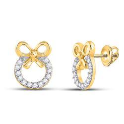 10kt Yellow Gold Round Diamond Circle Bow Ribbon Fashion Earrings 1/10 Cttw