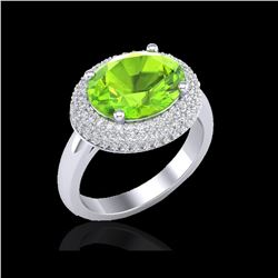 4.50 ctw Peridot & Micro Pave VS/SI Diamond Ring 18K White Gold