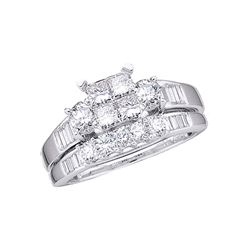 10kt White Gold Princess Diamond Bridal Wedding Engagement Ring Band Set 1.00 Cttw