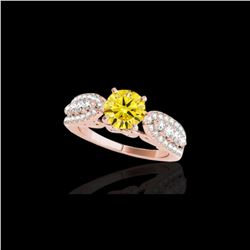 1.7 ctw Certified SI/I Fancy Intense Yellow Diamond Ring 10K Rose Gold