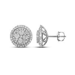 14kt White Gold Round Diamond Framed Flower Cluster Earrings 1-3/4 Cttw
