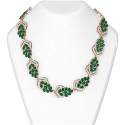 74.37 ctw Emerald & Diamond Necklace 18K Rose Gold