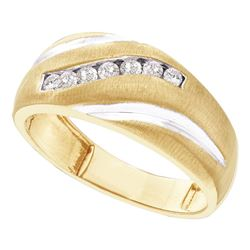 10kt Yellow Gold Mens Round Diamond Band Ring 1/4 Cttw
