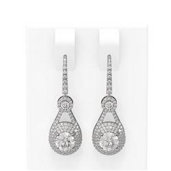 3.92 ctw Diamond Earrings 18K White Gold
