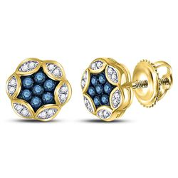 10kt Yellow Gold Round Blue Color Enhanced Diamond Cluster Stud Earrings 1/4 Cttw