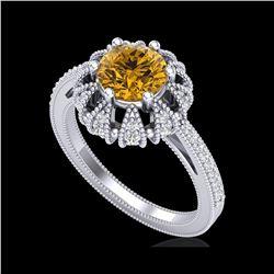 1.65 ctw Intense Fancy Yellow Diamond Art Deco Ring 18K White Gold