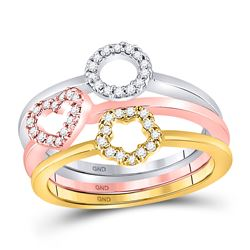 10kt Tri-Tone Gold Round Diamond Circle Heart Star 3-Piece Stackable Ring Band Set 1/5 Cttw