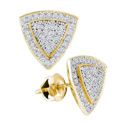 10kt Yellow Gold Round Diamond Triangle Frame Cluster Earrings 1/4 Cttw