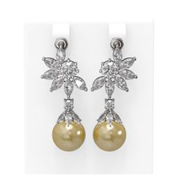 7.42 ctw Diamond and Pearl Earrings 18K White Gold