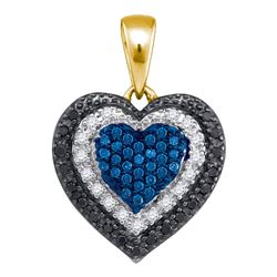 10kt Yellow Gold Round Blue Color Enhanced Diamond Layered Heart Pendant 1/4 Cttw