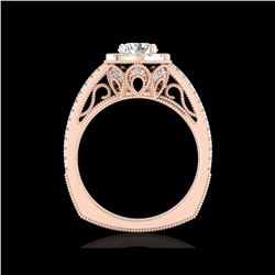 1.55 ctw VS/SI Diamond Solitaire Art Deco Ring 18K Rose Gold