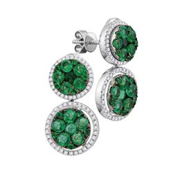 18kt White Gold Round Emerald Diamond Convertible Dangle Jacket Earrings 1.00 Cttw