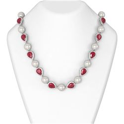 54.95 ctw Ruby & Diamond Necklace 18K White Gold
