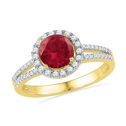 10kt Yellow Gold Round Lab-Created Ruby Solitaire Diamond Halo Ring 1-5/8 Cttw