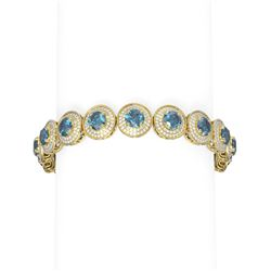 19.89 ctw Intense Blue Diamond Bracelet 18K Yellow Gold