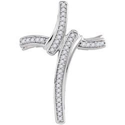 10kt White Gold Round Diamond Cross Pendant 1/8 Cttw