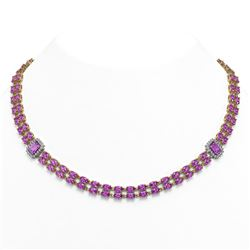 30.47 ctw Amethyst & Diamond Necklace 14K Yellow Gold