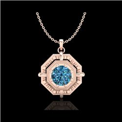 0.75 ctw Fancy Intense Blue Diamond Art Deco Necklace 18K Rose Gold