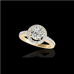1.65 ctw Certified Diamond Solitaire Halo Ring 10K Yellow Gold