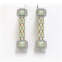 8.26 ctw Opal & Diamond Earrings 14K Yellow Gold