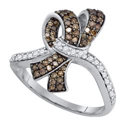 10kt White Gold Round Brown Diamond Knot Bow Ring 1/2 Cttw