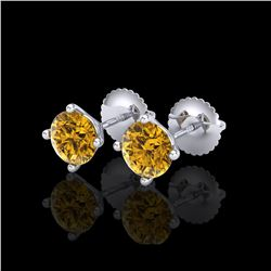 1.5 ctw Intense Fancy Yellow Diamond Art Deco Earrings 18K White Gold