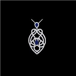 3.50 ctw Sapphire & Micro VS/SI Diamond Heart Necklace 14K White Gold