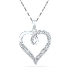 10kt White Gold Round Diamond Heart Pendant 1/10 Cttw