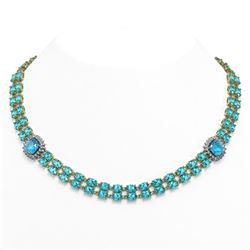 72.67 ctw Swiss Topaz & Diamond Necklace 14K Yellow Gold
