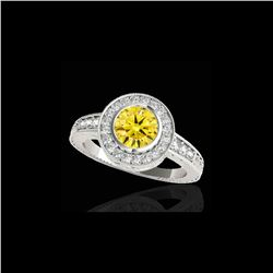 2 ctw Certified SI/I Fancy Intense Yellow Diamond Halo Ring 10K White Gold