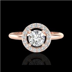 .70 ctw Micro Pave Halo VS/SI Diamond Certified Ring 14K Rose Gold