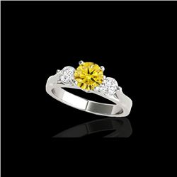 1.50 ctw SI/I Fancy Intense Yellow Diamond 3 Stone Ring 10K White Gold