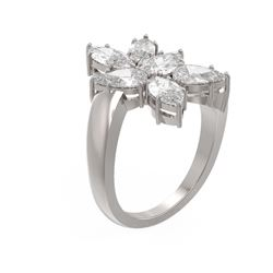 3.68 ctw Diamond Ring 18K White Gold