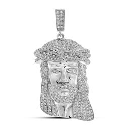 10kt White Gold Mens Round Diamond Jesus Christ Face Charm Pendant 1-1/4 Cttw
