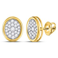 14kt Yellow Gold Round Diamond Oval Cluster Earrings 3/4 Cttw