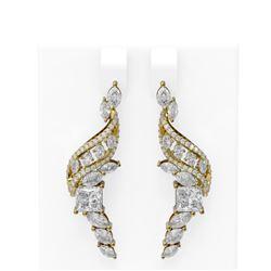 7.23 ctw Diamond Earrings 18K Yellow Gold