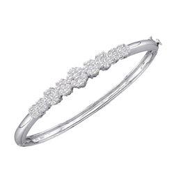 14kt White Gold Round Diamond Bangle Bracelet 2.00 Cttw