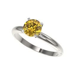 1.25 ctw Certified Intense Yellow Diamond Solitaire Ring 10K White Gold