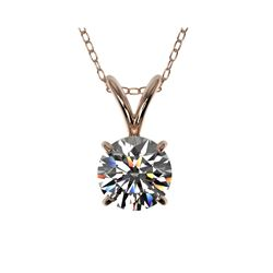 .72 ctw Certified Quality Diamond Solitaire Necklace 10K Rose Gold